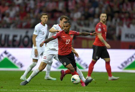 Warsaw, Poland, September 9, 2019: EURO 2020 qualifing round, group stage, Poland draws 0: 0 with Austrial on PGE Narodowy. Valentino Lazaro (Austria) Krystian Bielik (Poland) Редакционное