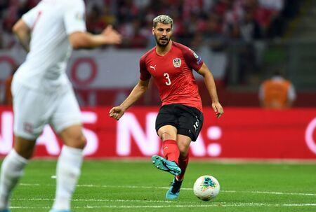Warsaw, Poland, September 9, 2019: EURO 2020 qualifing round, group stage, Poland draws 0: 0 with Austrial on PGE Narodowy.Aleksandar Dragovic (Austria) Editorial