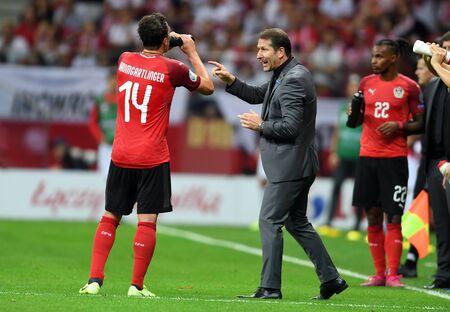 Warsaw, Poland, September 9, 2019: EURO 2020 qualifing round, group stage, Poland draws 0: 0 with Austrial on PGE Narodowy. Franco Foda coach (Austria) Редакционное