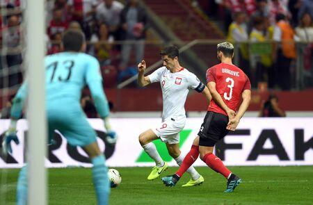 Warsaw, Poland, September 9, 2019: EURO 2020 qualifing round, group stage, Poland draws 0: 0 with Austrial on PGE Narodowy.Robert Lewandowski (Poland)