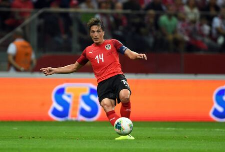 Warsaw, Poland, September 9, 2019: EURO 2020 qualifing round, group stage, Poland draws 0: 0 with Austrial on PGE Narodowy. Julian Baumgartlinger (Austria)