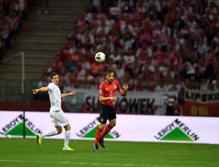 Warsaw, Poland, September 9, 2019: EURO 2020 qualifing round, group stage, Poland draws 0: 0 with Austrial on PGE Narodowy.Robert Lewandowski (Poland) Andreas Ulmer (Austria)