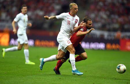 Warsaw, Poland, September 9, 2019: EURO 2020 qualifing round, group stage, Poland draws 0: 0 with Austrial on PGE Narodowy Kamil Grosicki (Poland) Andreas Ulmer (Austria)