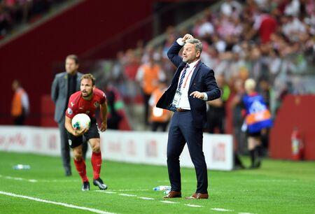 Warsaw, Poland, September 9, 2019: EURO 2020 qualifing round, group stage, Poland draws 0: 0 with Austrial on PGE Narodowy. Jerzy Brzeczek coach (Poland)