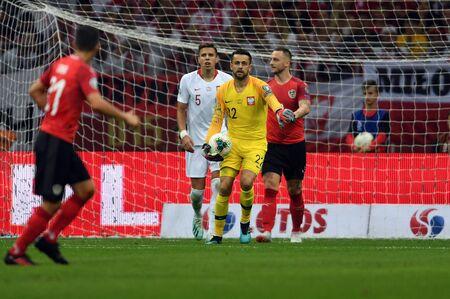 Warsaw, Poland, September 9, 2019: EURO 2020 qualifing round, group stage, Poland draws 0: 0 with Austrial on PGE Narodowy. ?ukasz Fabianski (Poland) Editorial