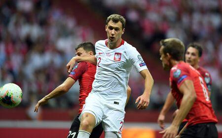 Warsaw, Poland, September 9, 2019: EURO 2020 qualifing round, group stage, Poland draws 0: 0 with Austrial on PGE Narodowy.Krystian Bielik (Poland) Stefan Lainer (Austria)