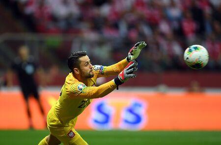 Warsaw, Poland, September 9, 2019: EURO 2020 qualifing round, group stage, Poland draws 0: 0 with Austrial on PGE Narodowy. ?ukasz Fabianski (Poland) Редакционное