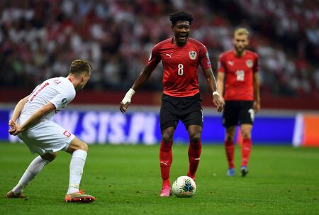 Warsaw, Poland, September 9, 2019: EURO 2020 qualifing round, group stage, Poland draws 0: 0 with Austrial on PGE Narodowy.David Alaba (Austria)