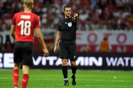 Warsaw, Poland, September 9, 2019: EURO 2020 qualifing round, group stage, Poland draws 0: 0 with Austrial on PGE Narodowy.Viktor Kassai refree