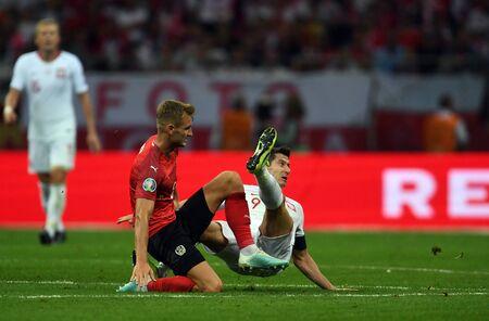 Warsaw, Poland, September 9, 2019: EURO 2020 qualifing round, group stage, Poland draws 0: 0 with Austrial on PGE Narodowy. Stefan Posch (Austria) Robert Lewandowski (Poland)