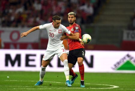 Warsaw, Poland, September 9, 2019: EURO 2020 qualifing round, group stage, Poland draws 0: 0 with Austrial on PGE Narodowy.Piotr Zielinski (Poland) Aleksandar Dragovic (Austria)