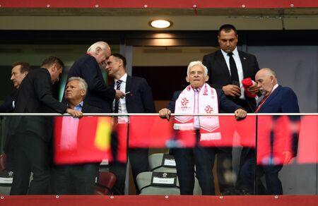 Warsaw, Poland, September 9, 2019: EURO 2020 qualifing round, group stage, Poland draws 0: 0 with Austrial on PGE Narodowy. Aleksander Kwasniewski, Jerzy Buzek Редакционное