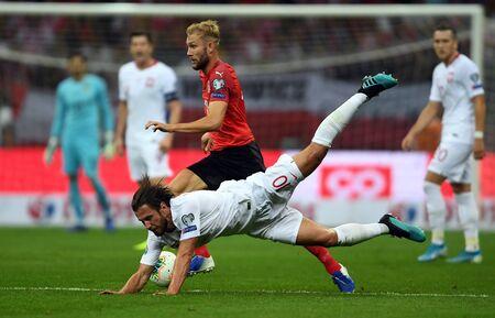 Warsaw, Poland, September 9, 2019: EURO 2020 qualifing round, group stage, Poland draws 0: 0 with Austrial on PGE Narodowy Konrad Laimer (Austria) Grzegorz Krychowiak (Poland)