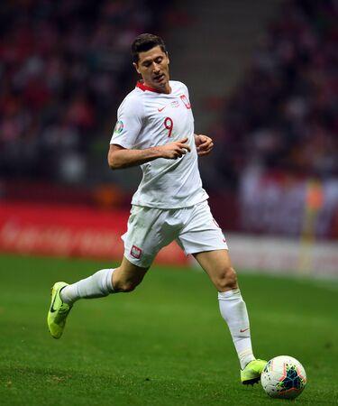 Warsaw, Poland, October 13, 2019: EURO 2020 qualifing round, group stage, Poland wins 2: 0 with Macedonia on PGE Narodowy.Robert Lewandowski (Poland)
