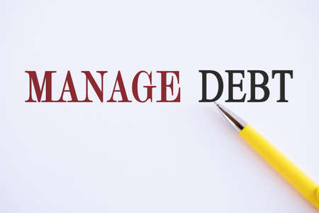 Writing note showing Manage Debt. Business photo showcasing unofficial agreement with unsecured creditors for repayment
