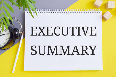 Executive Summary text written in Notebook. Concept for a short document or section of a document produced for business purposes.