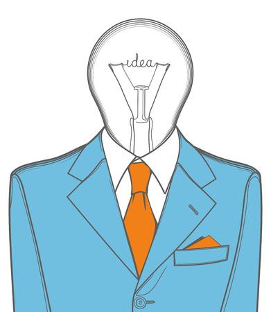 Eureka. Lamp head, illustration of businessman