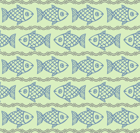 texture cloth: Seamless vector pattern with fish. Hand drawn. Abstract ornamental decorative background. Repeating colorful background texture. Cloth design. Wallpaper, wrapping.