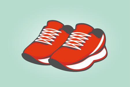 rode tennisschoenen.