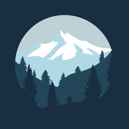 winter snowy mountains landscape with hills, pines and trees. vector illustration