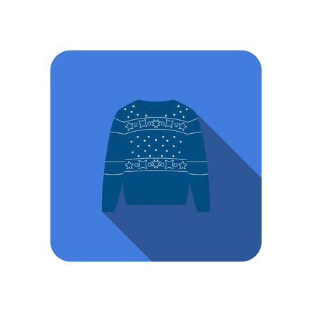 winter warm blue sweater knitted scandinavian flat icon with long shadow
