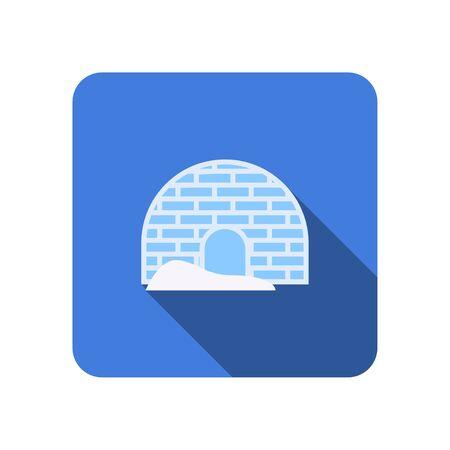 flat igloo icon with long shadow vector illustration Ilustrace