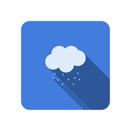cloud falling snow flat icon with long shadow vector