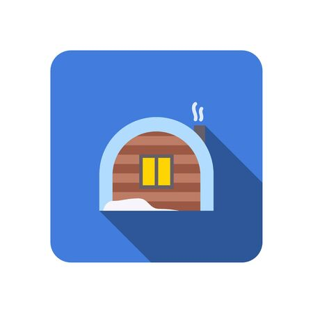 winter house flat icon with long shadow vector