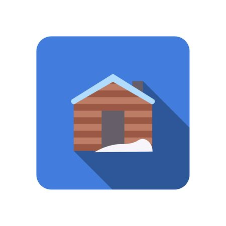 winter house with chimney flat icon with long shadow vector