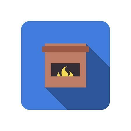 fireplace flat icon winth long shadow vector Ilustração
