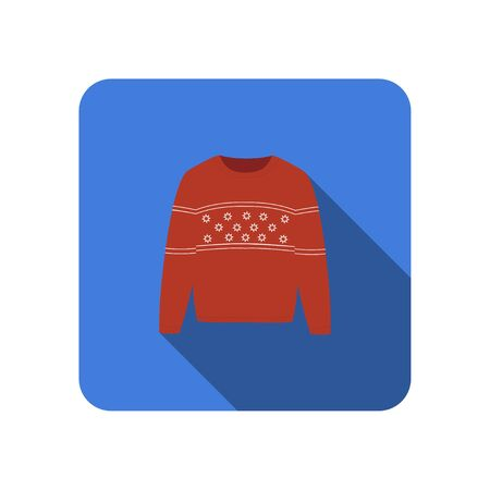winter warm red sweater knitted scandinavian flat icon with long shadow vector 일러스트