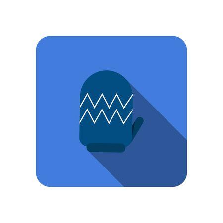 winter gloves flat icon with long shadow vector Illusztráció