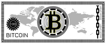 Bitcoin banknote concept. Block chain technology, virtual digital money. Template for game, joke, gift. Vector illustration.