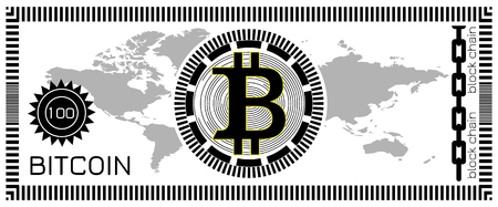 Bitcoin banknote concept. Block chain technology, virtual digital money. Template for game, joke, gift. Vector illustration.