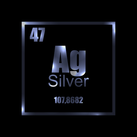 Argentum. Silver Periodic table element on black background. Label, stamp, metall, atom, molecule, weight, mass, science, laboratory, luxury, shining, technology.