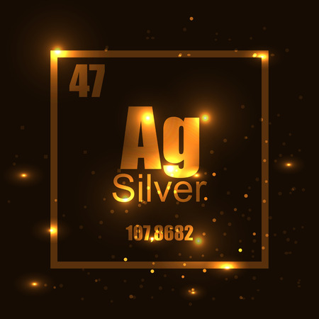 silver element of the periodic table gold shine effect vector illustration. Mark, stamp, label, science, chemistry, lux, luxury, quality, golden, stars effect.