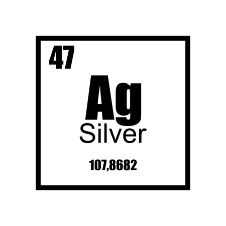 Argentum. Silver Periodic table element black on white background. Label, stamp, metall, atom, molecule, weight, mass, science, laboratory, luxury, shining, technology.