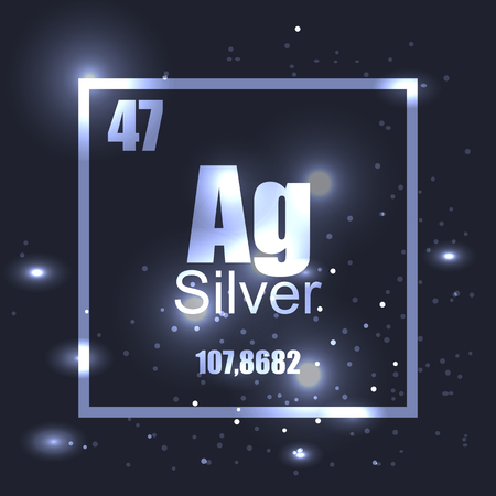 Silver element periodic table shine effect. Vector illustration. Molecule structure, stars, metallic desighn. Science, chemistry, space, label, mark, stamp.