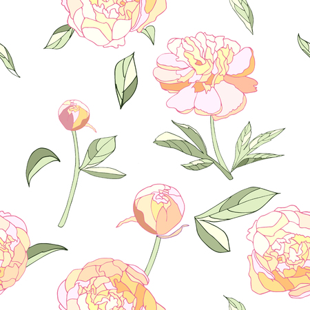Pink tender peony seamless pattern vector illustration.  Light colors, pink, green, white background. Flowers, leaves, buds, stems. Textile, invitation, greening card, scrapbooking, paper, wallpaper 版權商用圖片 - 106958748
