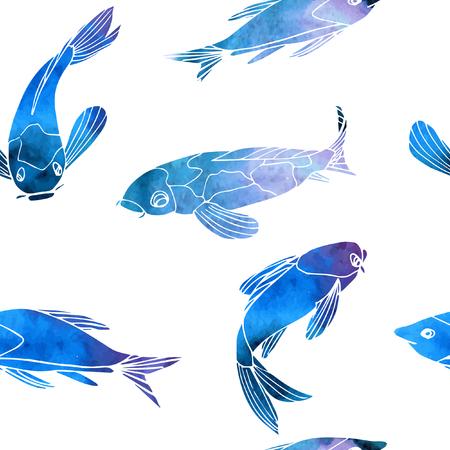 Vector de patrones sin fisuras peces azules carpas koi. Ilustración de vector dibujado a mano. Efecto acuarela. Ilustración de vector