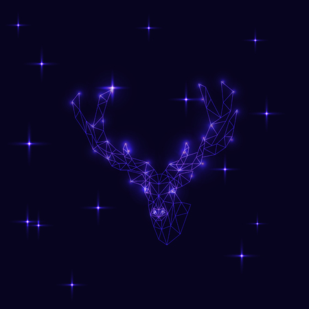 Deer polygonal illustration on blue background. Night, stars, shine, moon, winter, snow, moonlight, sky. Christnas, new year, celebration, holyday.  Thin line, low poly, triangle, minimalistic.