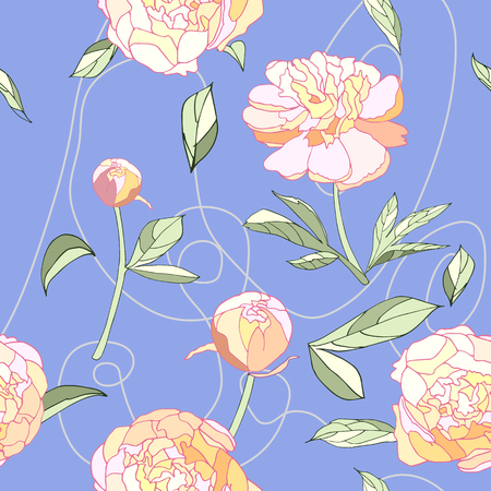 Peony floral seamless pattern, pink blue pastel color, vector illustration. Flowers, leaves, thread. Wallpaper, textile, fabric, pack paper, scrapbooking, background. Love, spring, romantic.