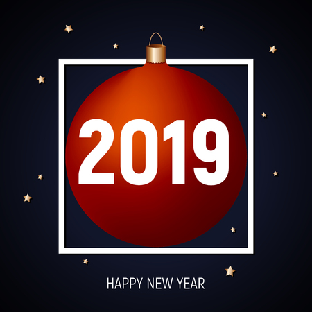 2019 happy New Year, red ball greeting card, banner, poster, template. Dark blue background, golden stars, white square frame and text.  Party invitation, celebration, night. Illusztráció