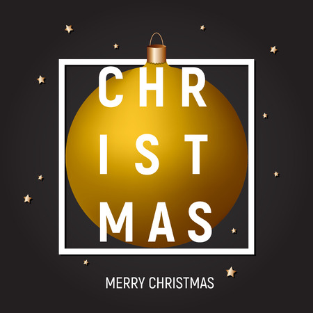 Christmas greeting card, poster, cover, gold ball in a white square frame on dark background, gold stars, text. Greeting card, banner, calendar, poster, template.