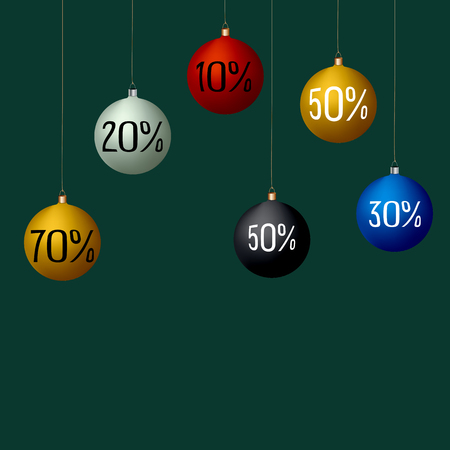White, black, yellow, red, blue Christmas decoration balls on green background. Sale, percent, benefit. Label, poster, special offer, shopping, black Friday.