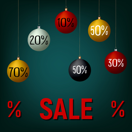 New Year, Christmas sale banner, poster, template, vector illustration. Colorful balls, red, black, yellow, white on blue background, sale text. Winter shopping, black friday.