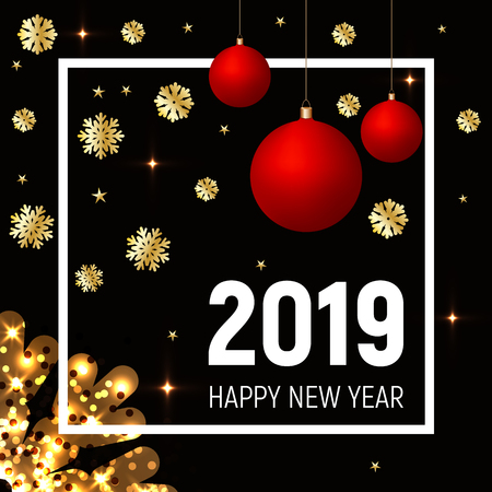 Golden snowflakes and red balls on dark black background. 2019 happy new year greeting. White square frame and text. Shining gold stars effect. Banner, poster, party celebration template.