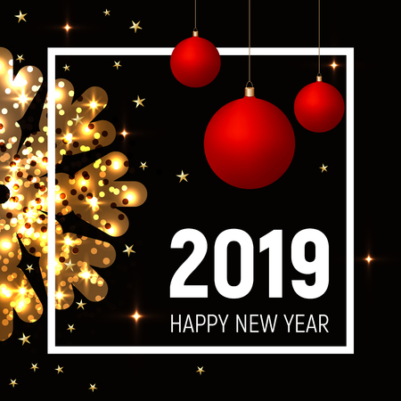 Red balls and golden shining snowflake 2019 happy new year design concept. White square frame, gold stars on dark black background. Banner, poster, web, typography, print. Bright, contrast. Illusztráció
