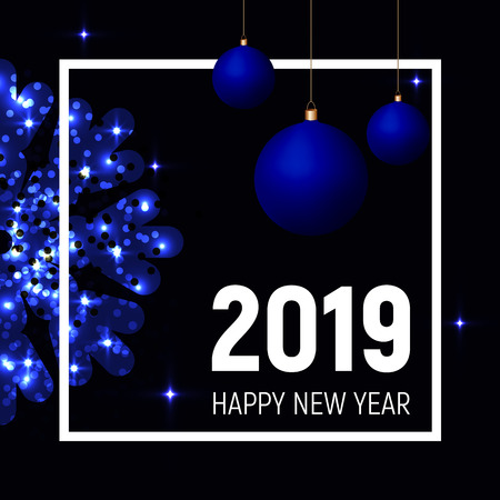 Blue balls and snowflake and white square frame on dark black background, 2019 new year template, banner, poster, web. Shining stars effect. Illusztráció