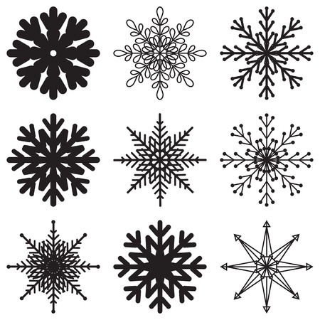 Snowflakes vector illustration set, isolated elements on white background. Design, concept, hexagon, geometry. Template for winter illustrations.